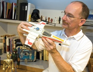 Jim Swearingen with an X-Wing Fighter