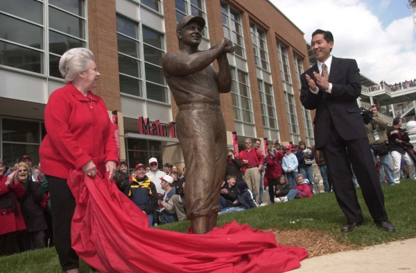 Tom Tsuchiya at the unveiling of his statues at Great American Ballpark. photo/Greg Rust