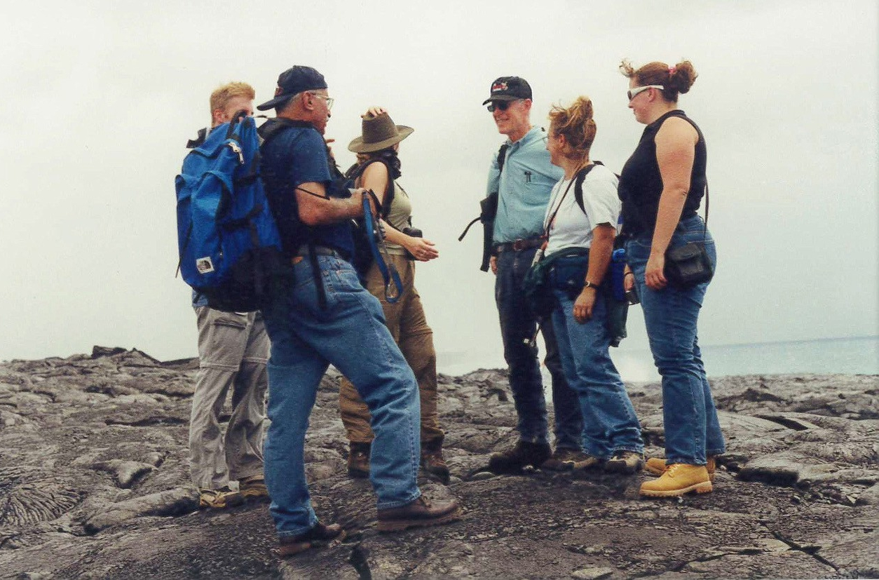UC professor Warren Huff supervises geology students in field research in Hawaii. (Provided)