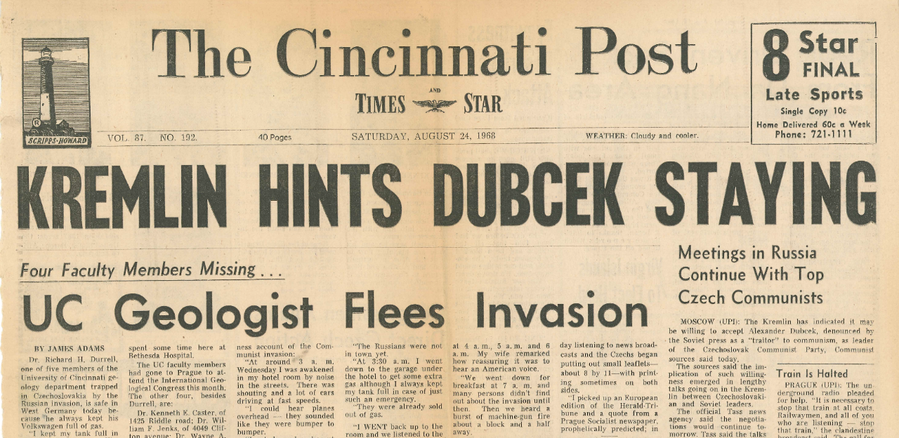 Warren Huff was one of the four UC faculty members unaccounted for in the wake of the Soviet invasion as reported on the front page of The Cincinnati Post on Aug. 24, 1968.