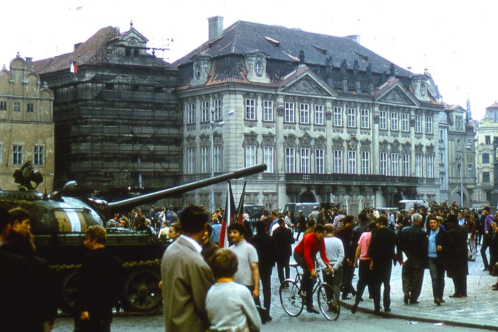 Citizens of Czechoslovakia gathered in public squares in defiance of the Soviet invasion. (Warren Huff)