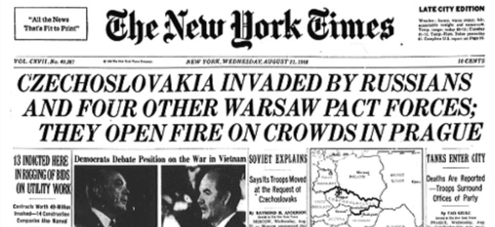 The Soviet invasion of Czechoslovakia was a huge international story.