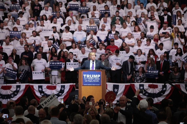 Donald Trump speaking with supporters at a campaign rally at the South Point Arena in Las Vegas, Nevada.