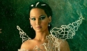 Jennifer Lawrence dressed for a scene in 'The Hunger Games