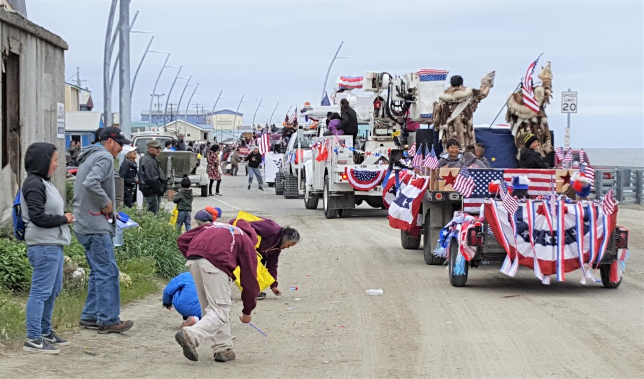 Residents of Kotzebue, Alaska, turn out for the annual Fourth of July parade.
