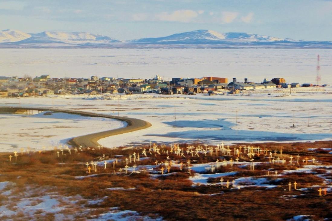 Kotzebue, Alaska, (pop. 8,500) sits on the Bering Sea in the Arctic Circle.