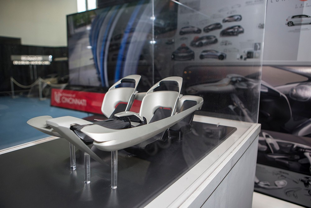 Interior model for an autonomous car, featuring movable seats, at the Cincinnati Auto Expo