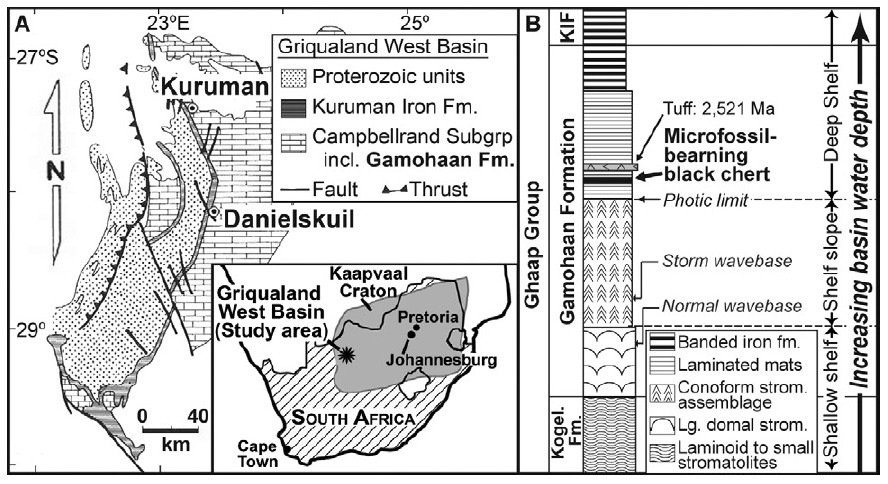 Map image of Kaapvall craton in South Africa showing fossil-rich areas. Graph/Andrew Czaja