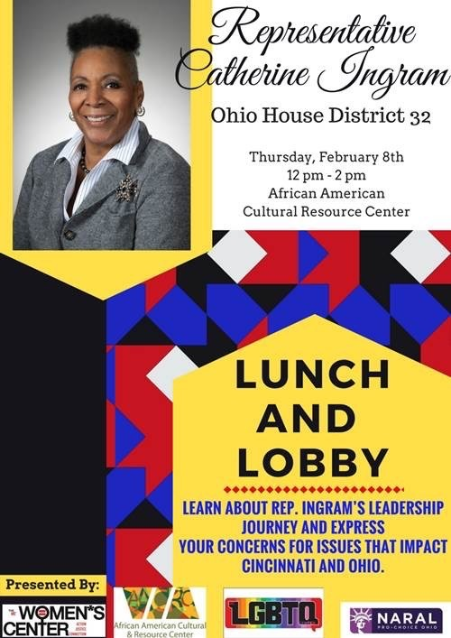 Poster promoting Ohio Representative Catherine Ingram to speak at a 2018 Black History Month event
