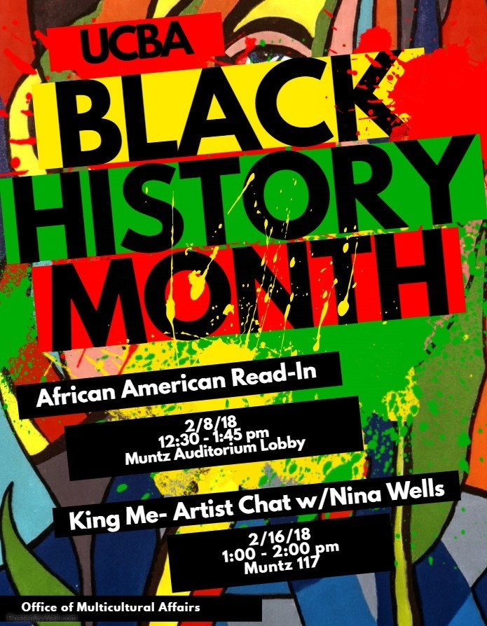 Poster of UCBA's 2018 Black History Month events.