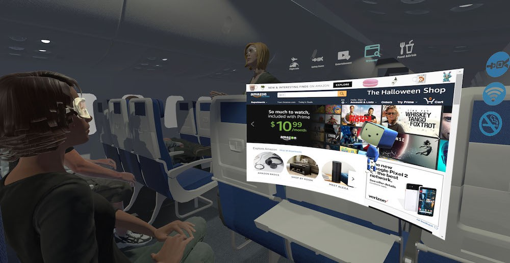 This rendering shows what it could look like to use the application. A holographic view of the Amazon homepage appears floating in front of a passenger's seat.