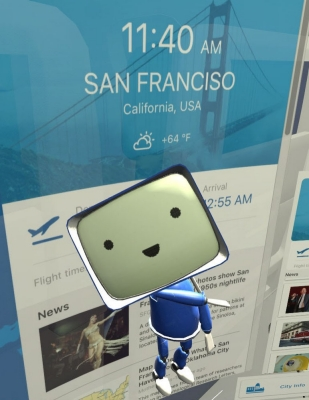 The Boeing Onboard virtual assistant is a little blue character with a square head.