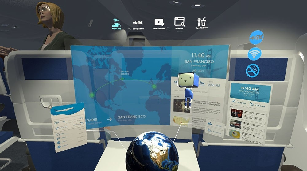 This rendering shows what people using Boeing Onboard would see by wearing virtual reality glasses, including travel plans, news headlines and a small virtual assistant character.