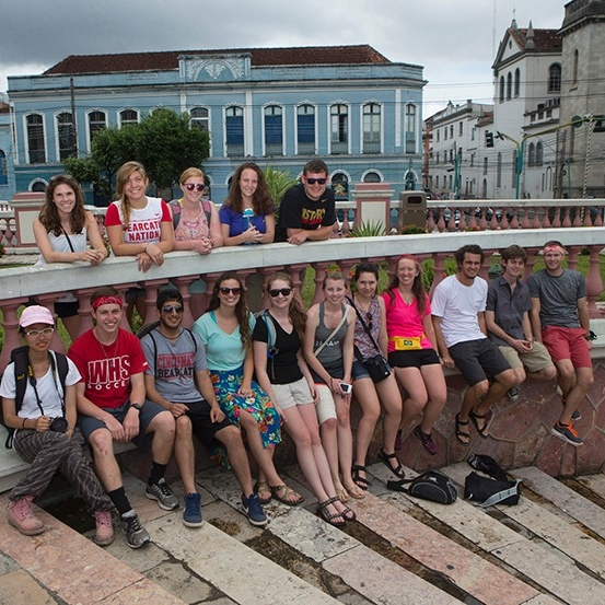The students pose for a group photo in the city of Manaus.