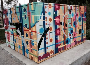 A transformer box painted by Amelia Caruso.
