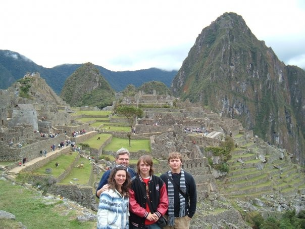David and Shelley Caudill stand with sons Christian and Glen in front of ruins at Machu Picchu, Peru, in June 2007.