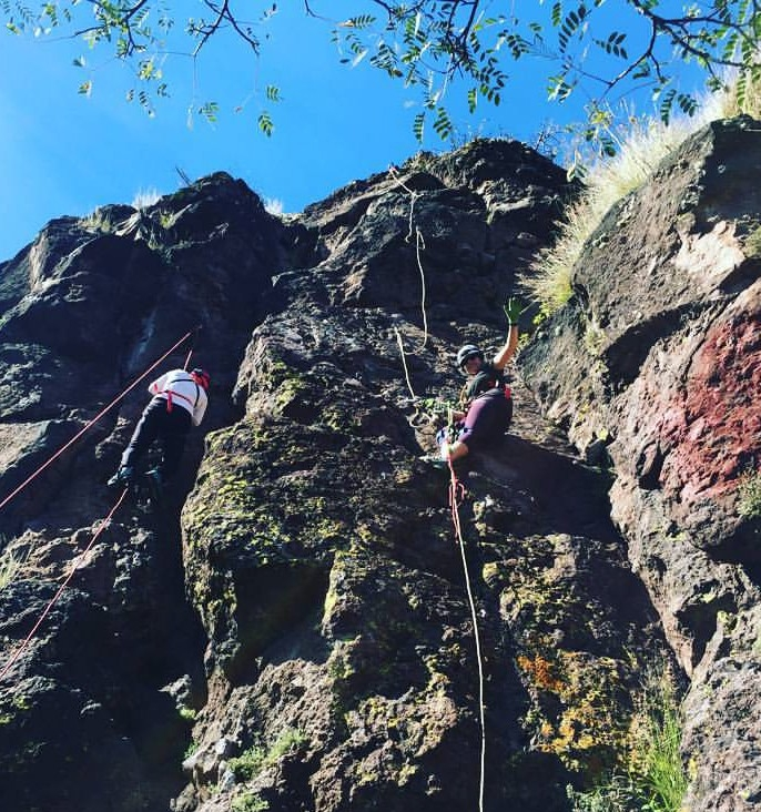 UC students climb cliffs in Mexico in preparation for an expedition to study cavefish. (Photos provided by Amanda Powers.)