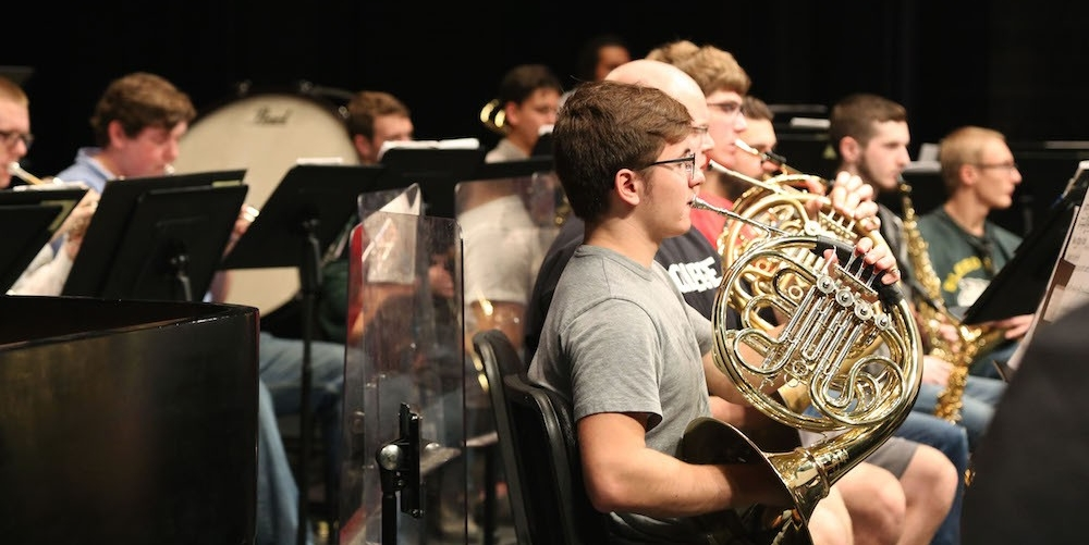 Members of the CCM Wind Ensemble during practice