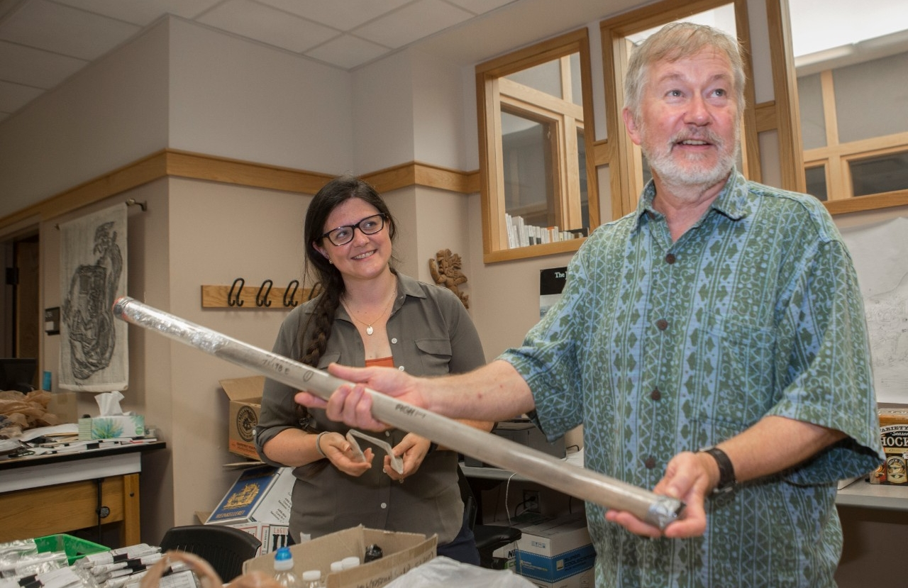 UC geography professor Nicholas Dunning and UC research associate Samantha Fladd talk about a geological core sample taken from Chaco Canyon.