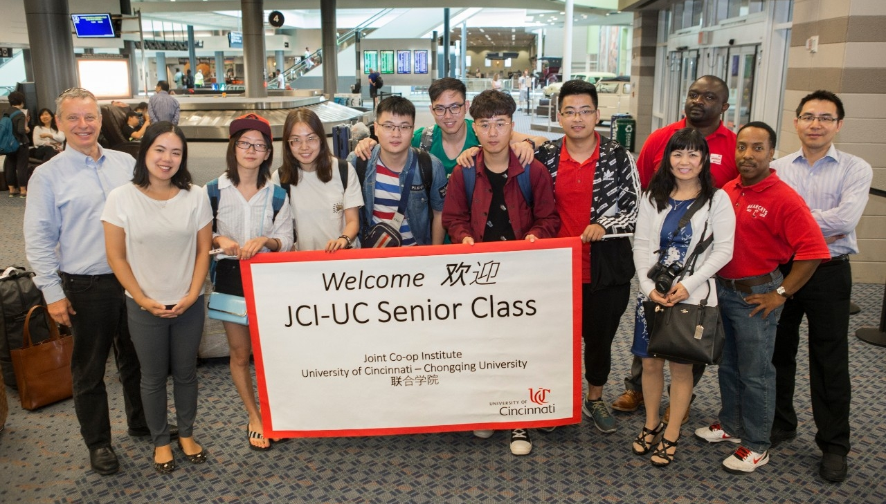Uc welcomes chinese co op students to campus university of cincinnati staff in ucs joint co op institute greet students arriving from china joseph kristyandbryce Gallery