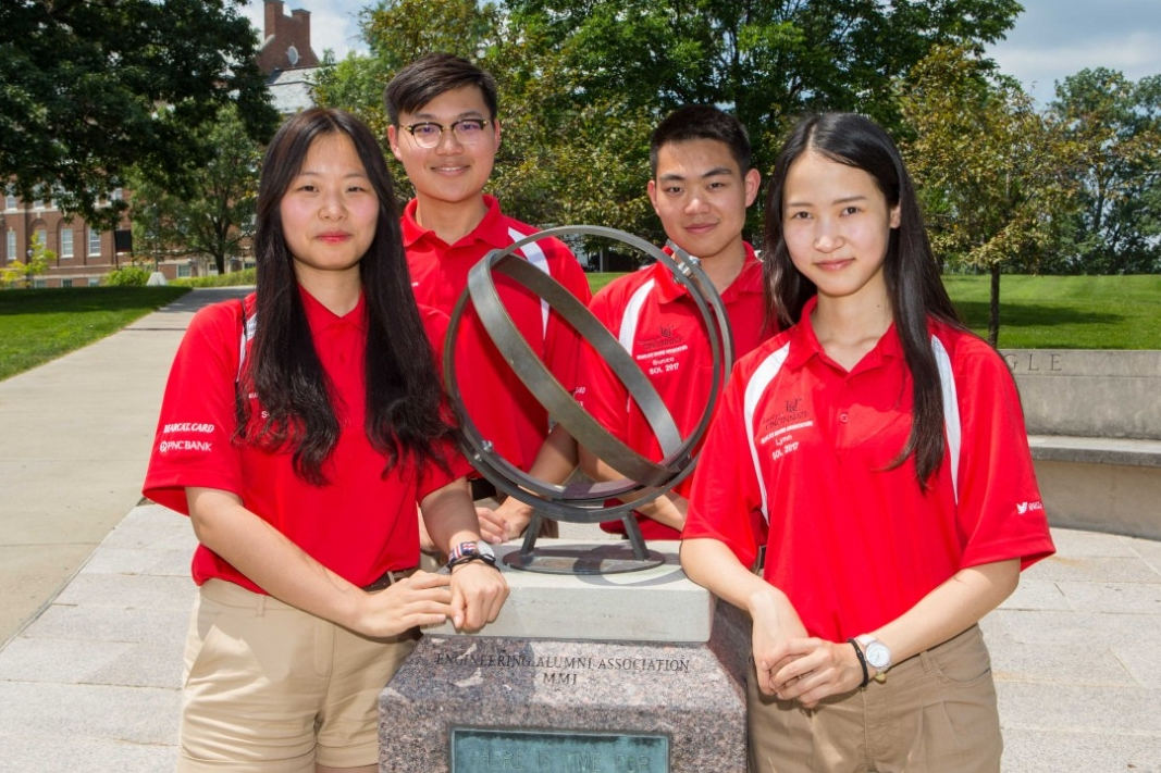 Chongqing University students Yuelin Fan, left, Jinglun Yu, Zhihao Sun and Lingchi Li visited UC this summer as student orientation leaders. They will return to UC as seniors to finish their engineering degrees.