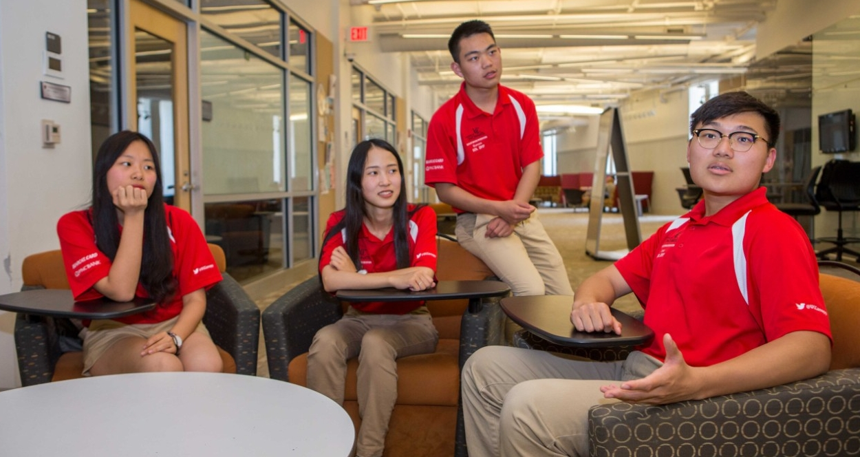 Chongqing University students Yuelin Fan, left, Lingchi Li, Zhihao Sun and Jinglun Yu spent the summer familiarizing themselves with UC as student orientation leaders. They will share their UC experience with other engineering co-op students in China to prepare them for when they return to Cincinnati for their senior year.