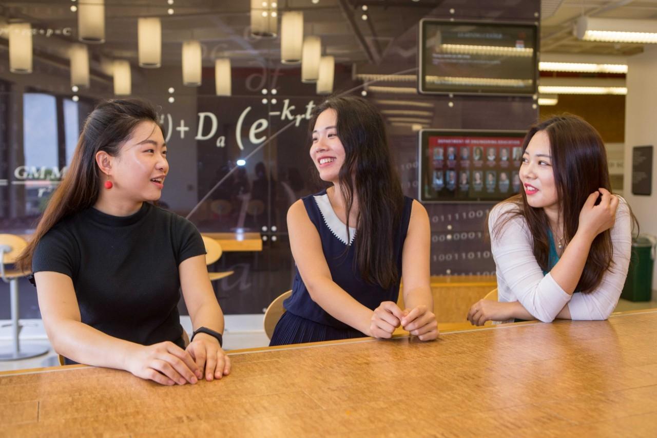Chongqing University students Zijia Shen, left, Jingyi Zhu and Yixuan Zhang will spend this year at UC, earning degrees from both universities.