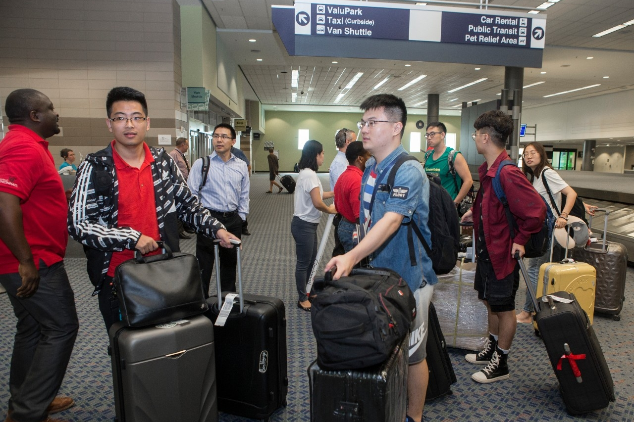 Engineering students from Chongqing University arrive in Cincinnati to begin their senior year at UC. (Joseph Fuqua II/UC Creative Services)
