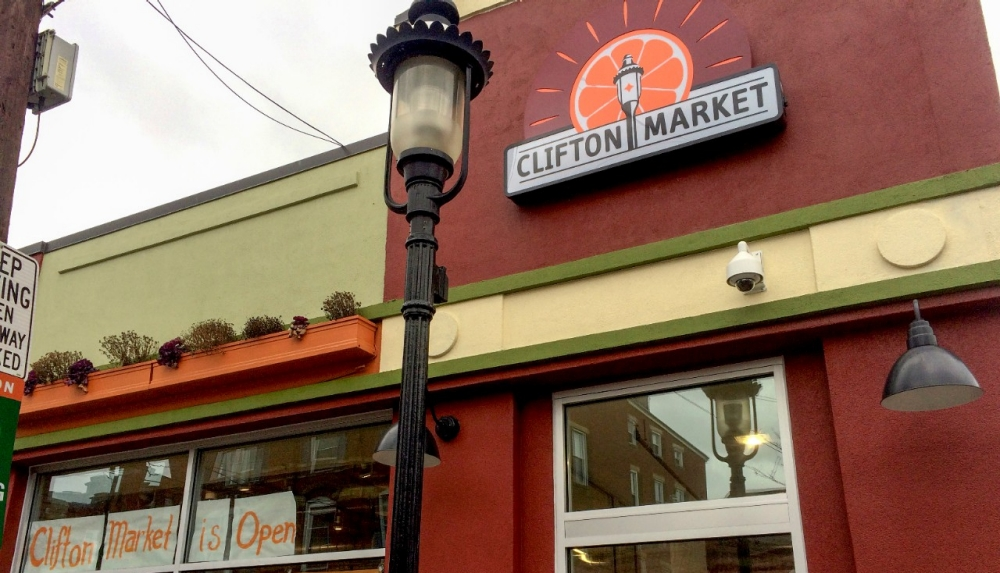 Exterior of new Clifton Market grocery store
