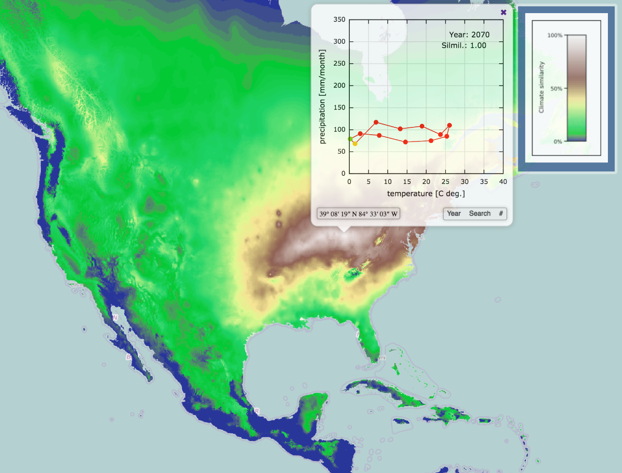 A climatogram of Cincinnati illustrates the average temperature and precipitation in each of the 12 months of the year. The map also predicts the rate of climate change through 2070.