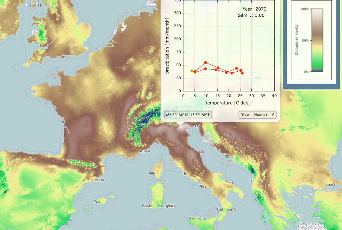 UC's ClimateEx map depicts a climatogram for Vicenza, Italy, the climate twin of Cincinnati based on average monthly precipitation and temperature.