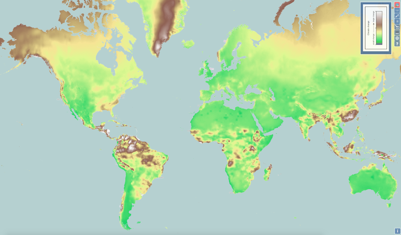UC's ClimateEx interactive map shows where climate is expected to change most between 2000 and 2070. The brown and white areas indicate greater change in temperature, precipitation or both. This suggests higher latitudes and the tropics will experience significant climate change. Green indicates areas of least change.