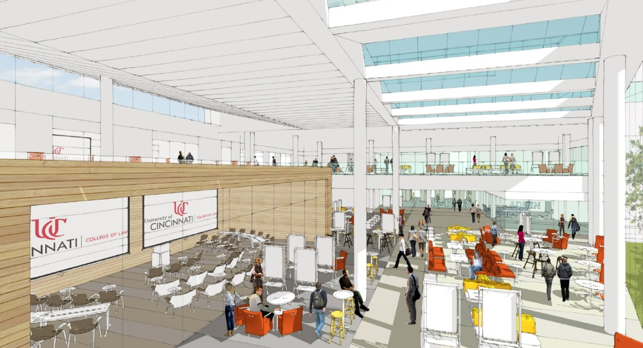 Rendering of a new foyer at the UC College of Law.