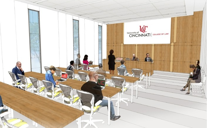 Rendering of a new classroom in the UC College of Law.