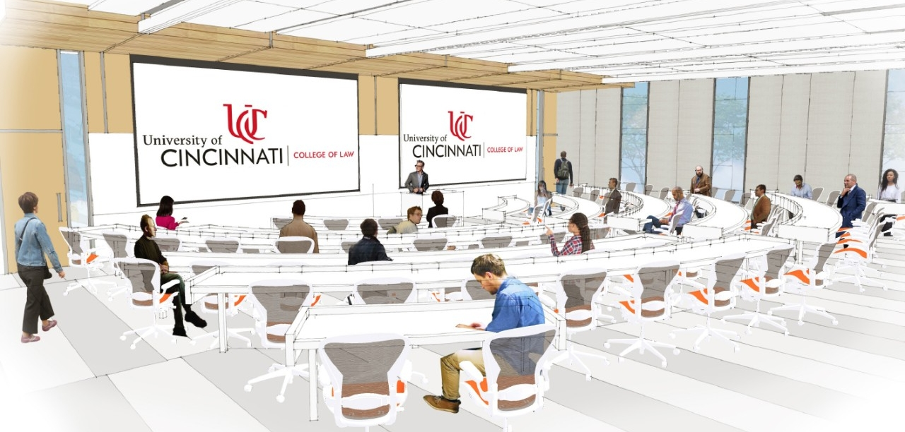 Rendering of a proposed new lecture hall at the new UC College of Law.
