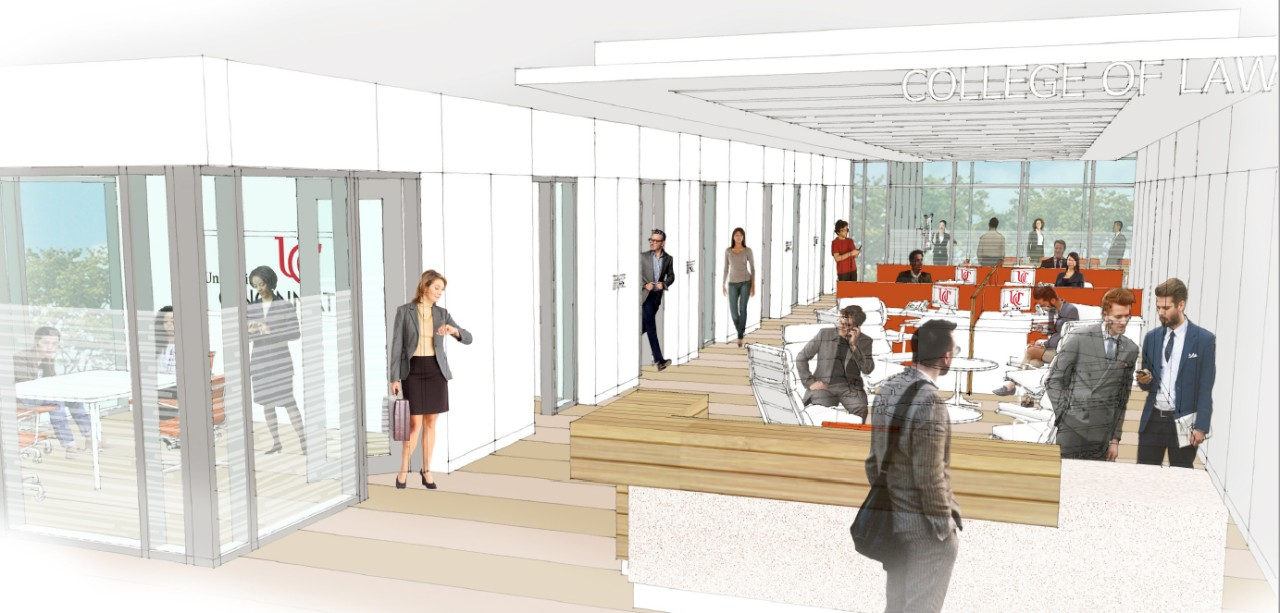 Artist's rendering of new faculty offices in the UC College of Law.