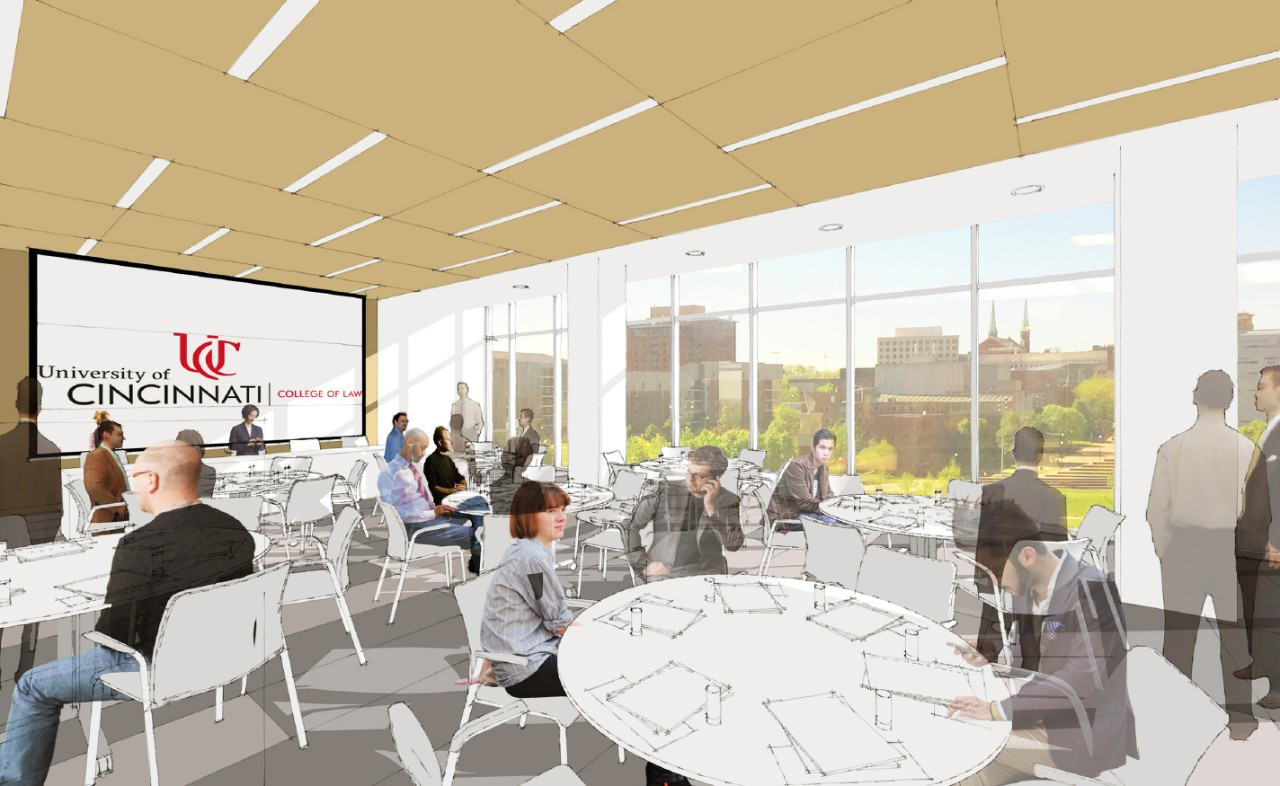 Rendering of a new study and gathering space in the UC College of Law.