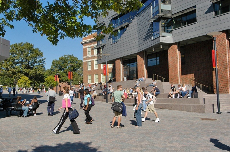 UC students walk through Main Street in the middle of campus. photo/courtesy of University of Cincinnati