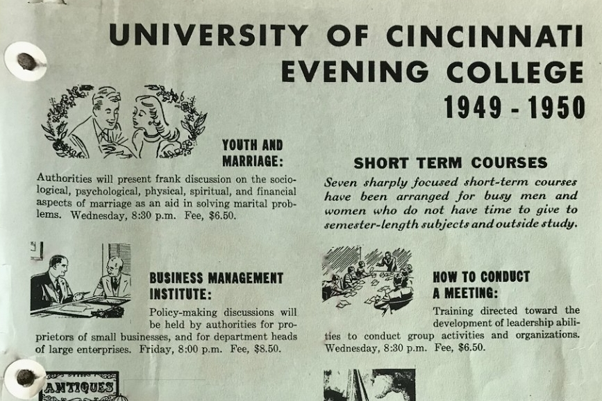 A page from UC Evening College in 1949-50 listing some of the course offerings.