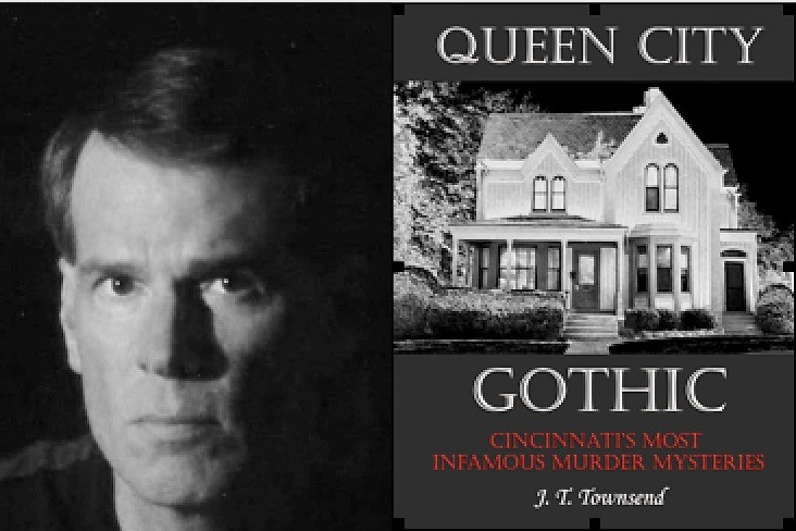 Portrait of J.T. Townsend on left and cover of his book Queen City Gothic on right.