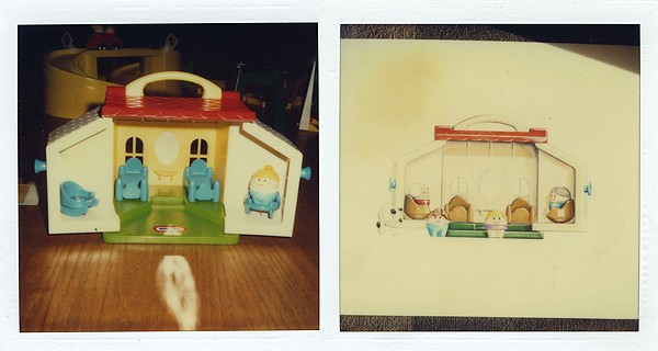 A Toddle Tots House and sketch. Mariol created many Toddle Tots toys, such as the Toddle Tots Loader. Photo Courtesy of Jim Mariol