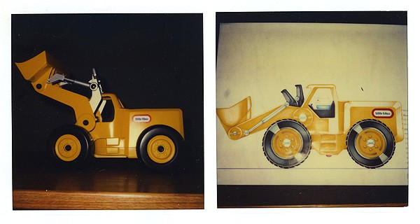 A loader and sketch. Mariol's company also created a number of construction toys, including dump trucks and diggers. Photo Courtesy of Jim Mariol