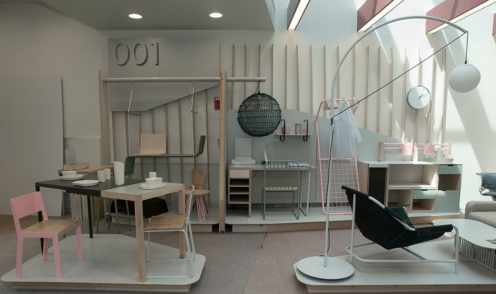 Section 001's award-winning pastel live-work furniture collection is on display at the DAAP library.