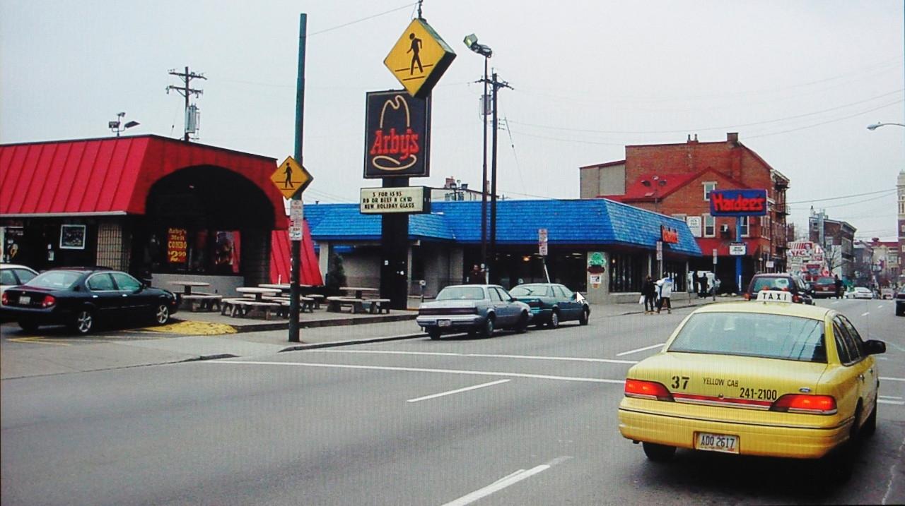 Former view of shops on Calhoun Street