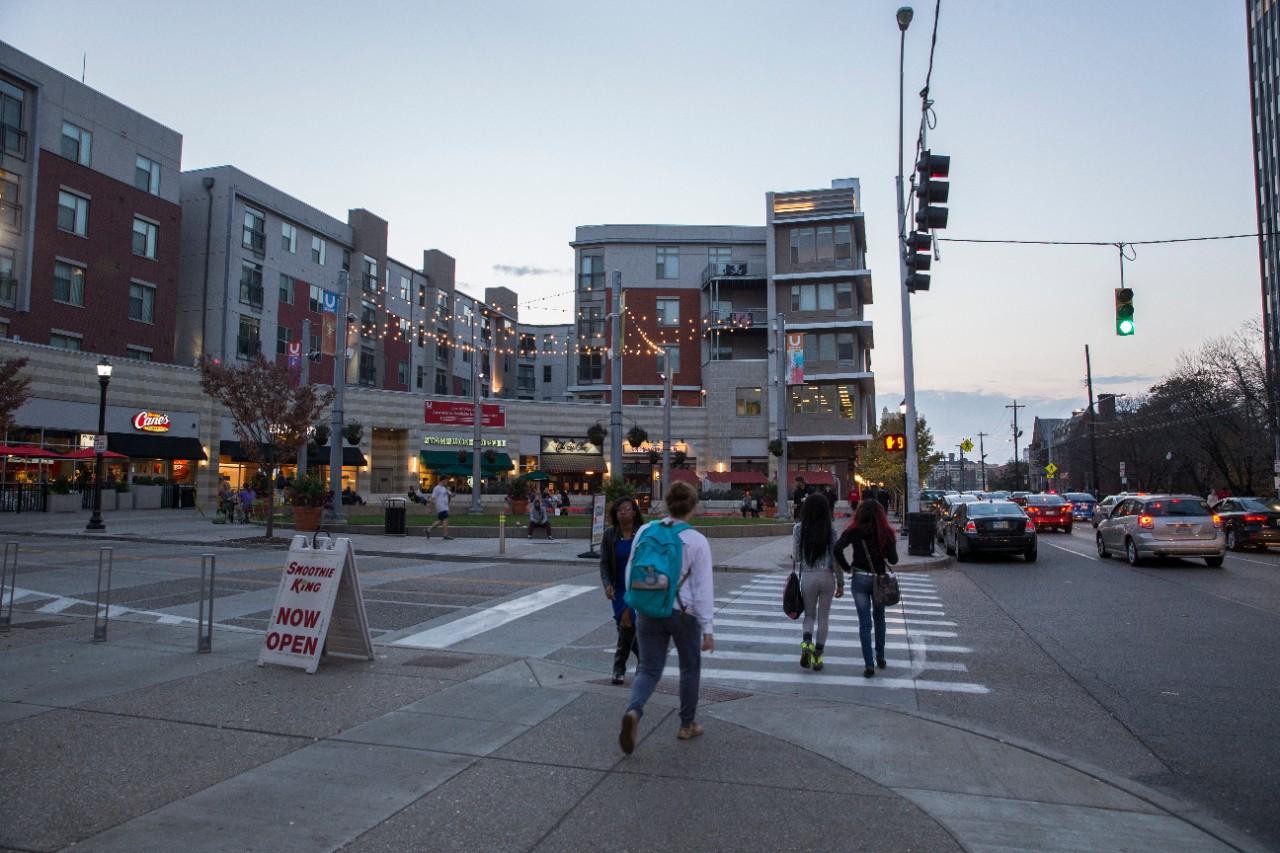 Students walk down Calhoun Street