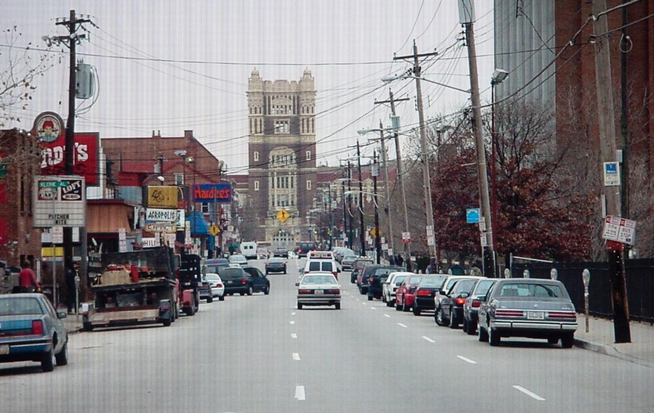 Westbound view of Calhoun Street