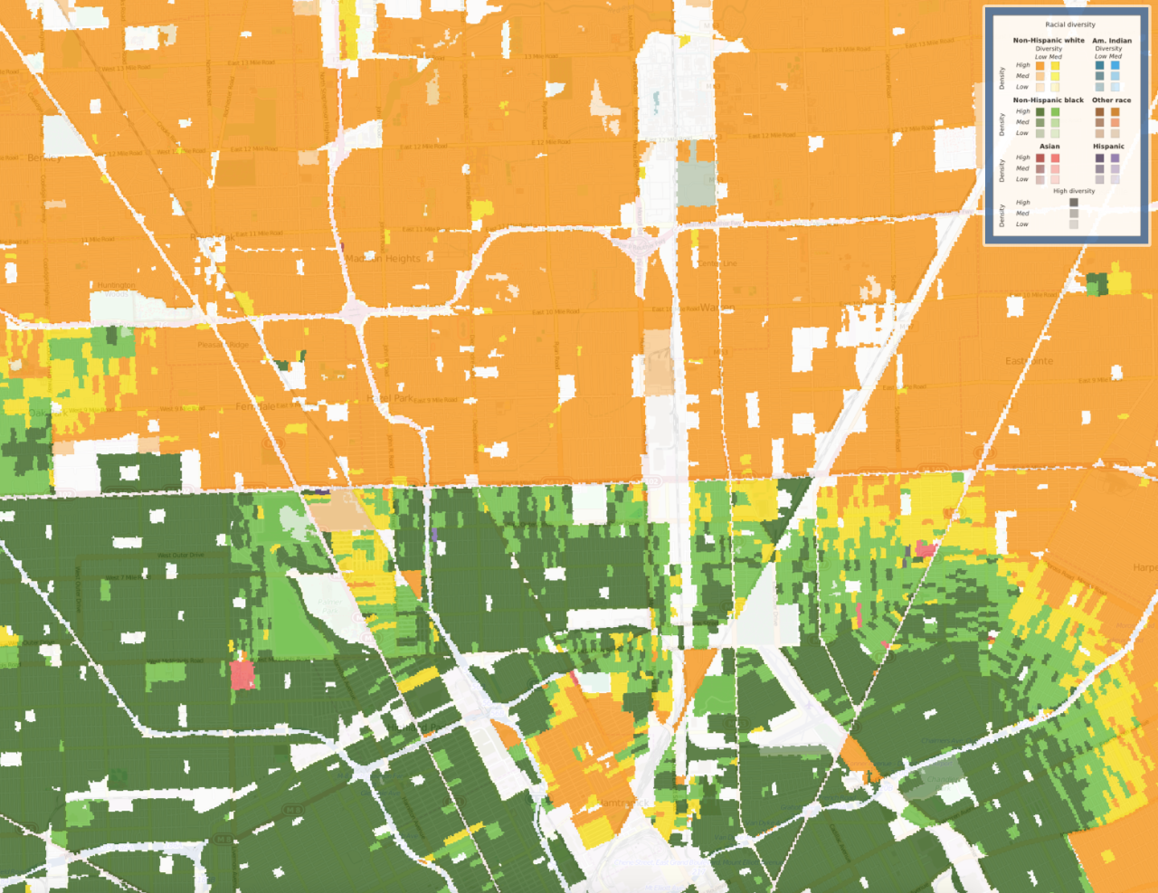 A 1990 map shows how Detroit was segregated by race along 8 Mile Road.