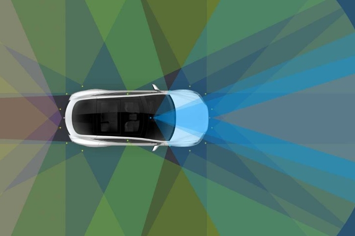 Automated vehicles such as Tesla's will use a combination of radar, cameras and sensors to detect obstacles in a variety of weather conditions. (Graphic by Tesla)