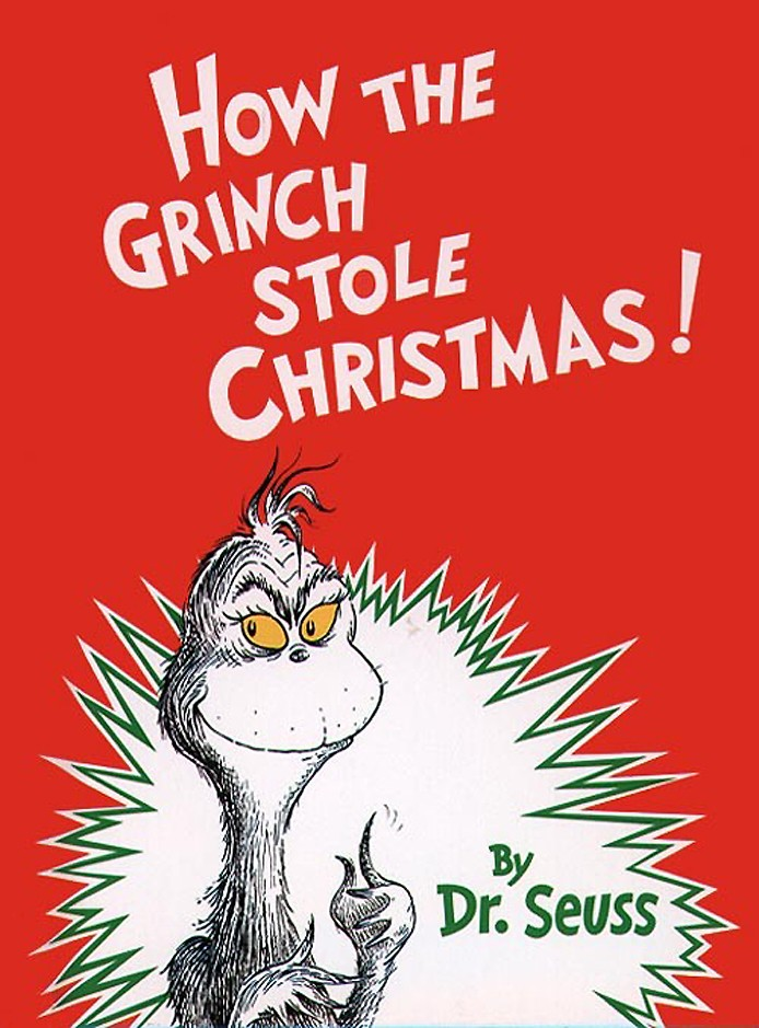 The book cover of How the Grinch Stole Christmas by Dr. Seuss.