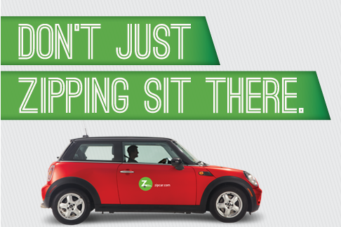 Ad portraying a red Mini Cooper for Zipcar rental system..